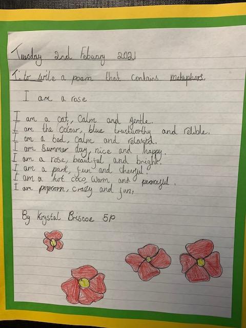 A beautiful metaphor poem written by Krystal B in school yesterday.