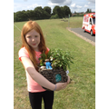 Here is Emily with her Mini- Garden .
