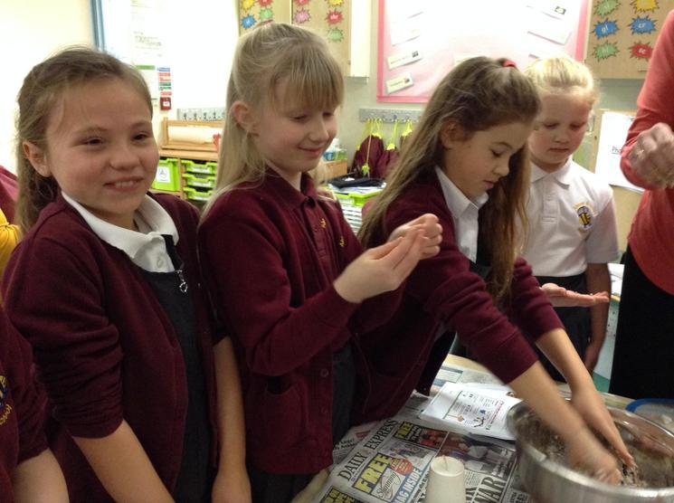 Here we are making bird feeders