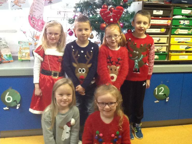 We wore our Christmas jumpers to school.