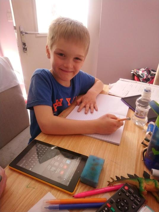 Kaidan busy working at home.