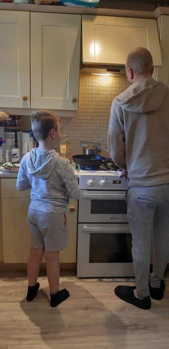 Boys cooking steak to give Zakk's Mum a rest!