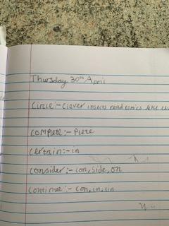 Emmy's spelling challenge.