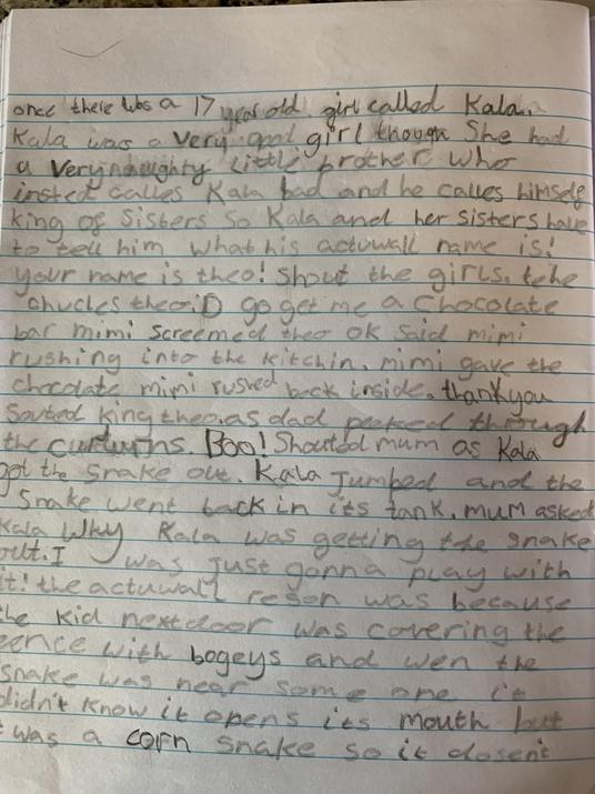 Amber's writing.