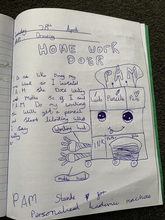 Millie's creative homework robot - I want one!