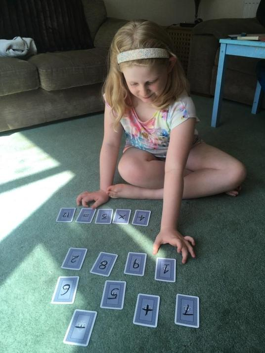 Chloe used cards to help her.