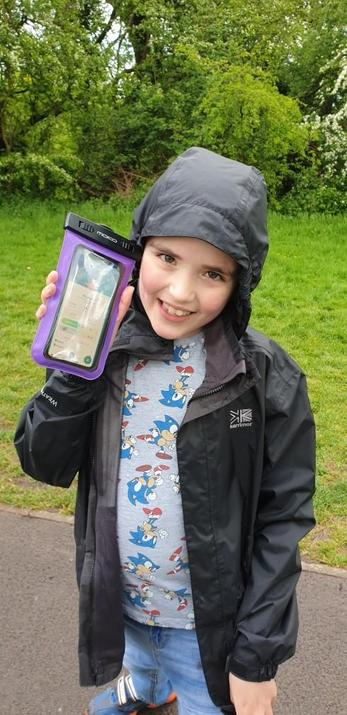 Michael has been out catching Pokemon in the rain!