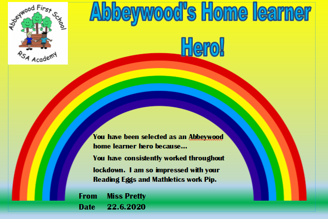 Pip gets the home learner hero award this week!