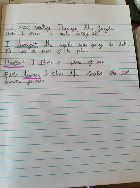 Phillipa practised her silly sentences.