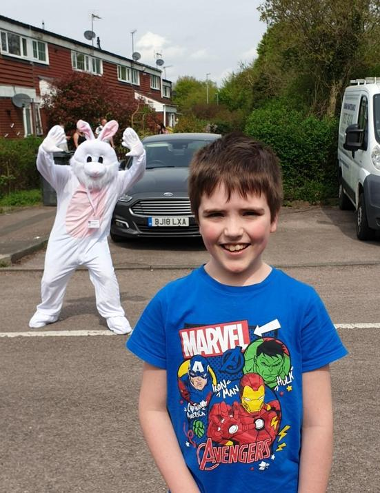 Michael met the Easter bunny (at a distance!)