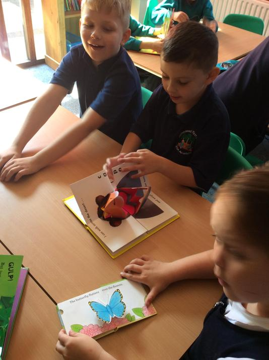We looked carefully at pop-up books.