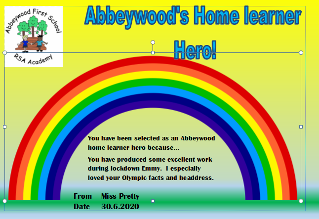 Emmy is our home learner hero this week!