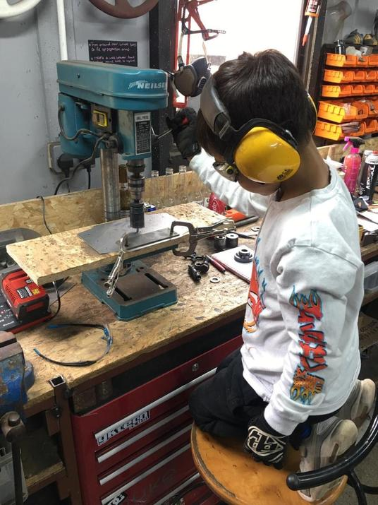 Eddie in his Dad's workshop/garage!