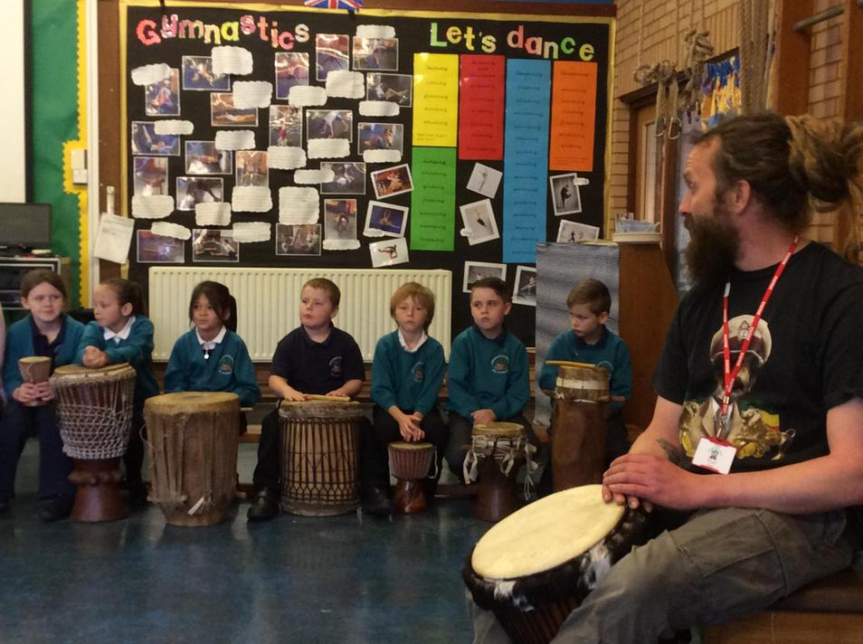 On Monday we did a drumming workshop.