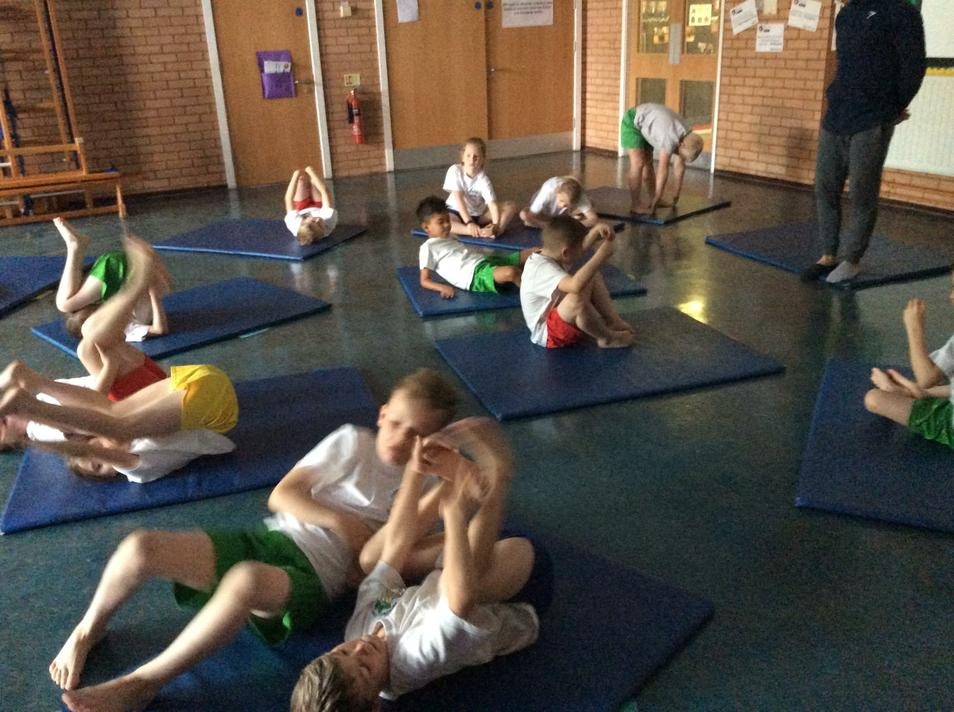 Yoga session focusing on breathing techniques.