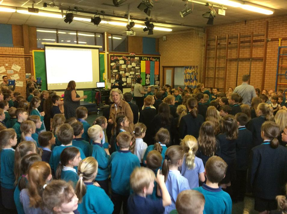 A whole school singing session.