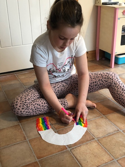 Elsie made a growing tissue rainbow.