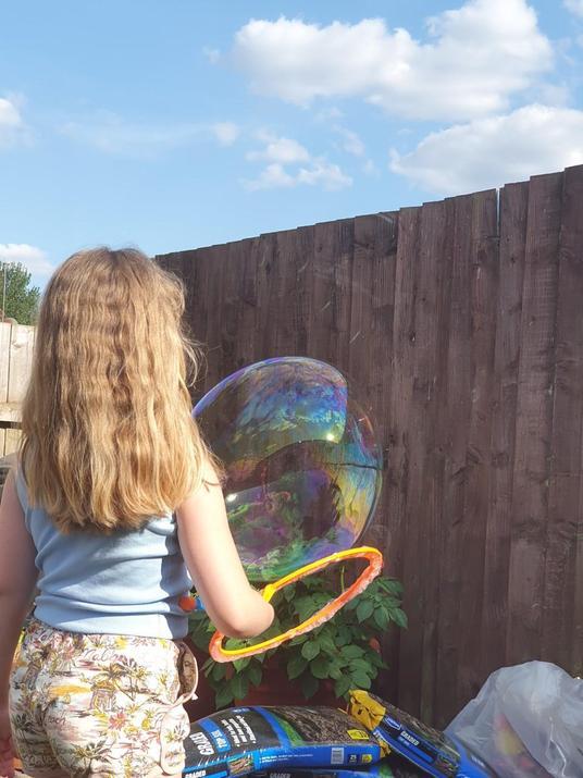 Pip making bubbles.