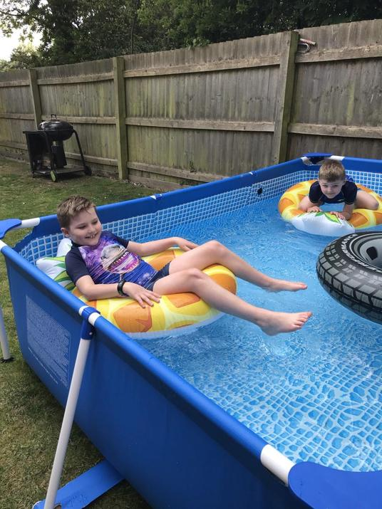 Harrison chilling in his pool!