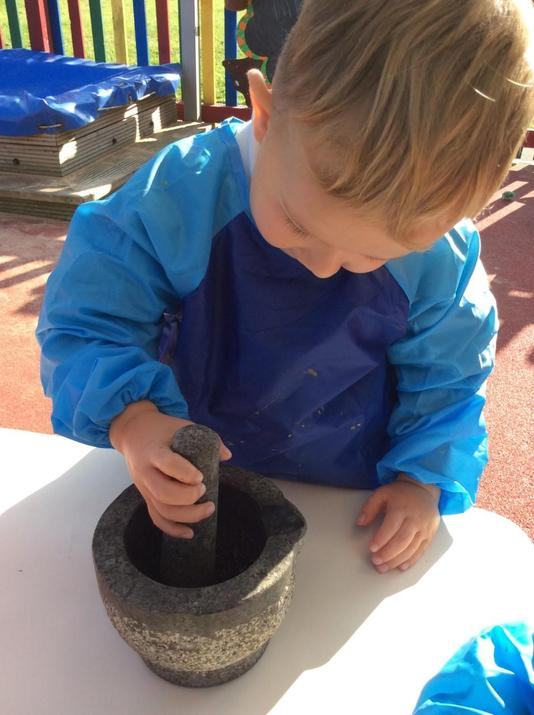 Using a pestle and mortar