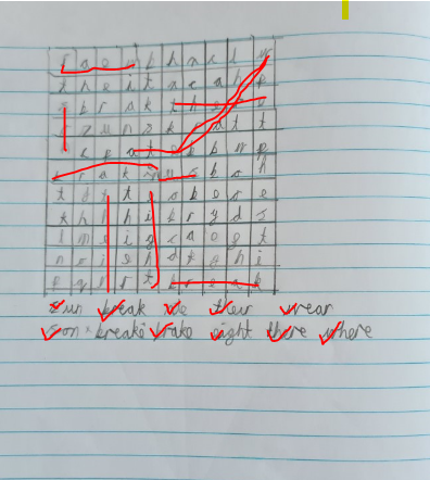 I solved Michael's homophone wordsearch!