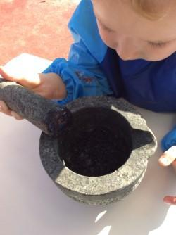 Crushing blackberries