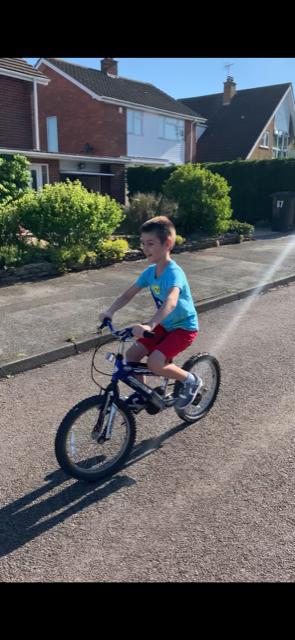 Tudor can now ride his bike!! What an achievement!