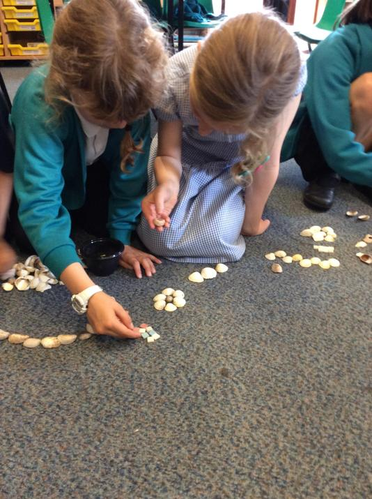 We used shells and tiles to create our own.