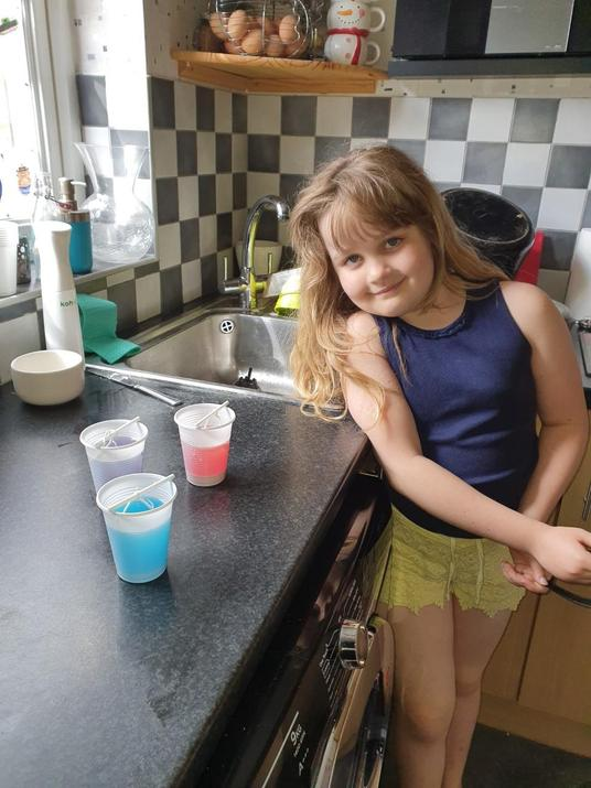 Phillipa tried the science experiment today!