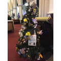 Our tree decorations on display at the church