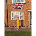 Mya with her VE Day decorations