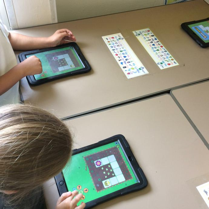 We also practiced our programming using an app.
