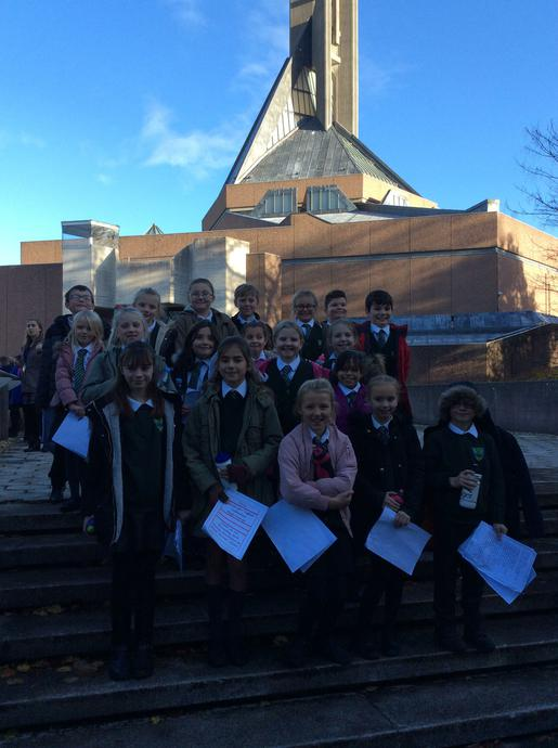 Choir outside Clifton Cathedral