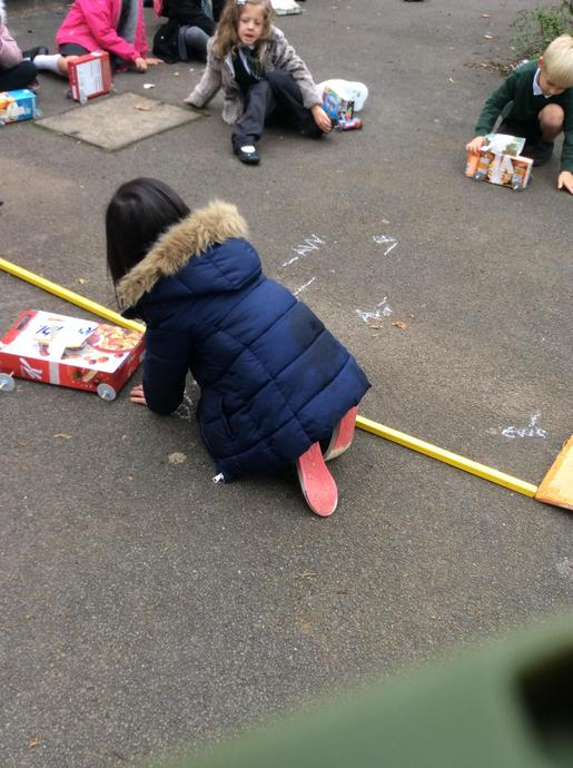 We measured each distance using a meter stick.