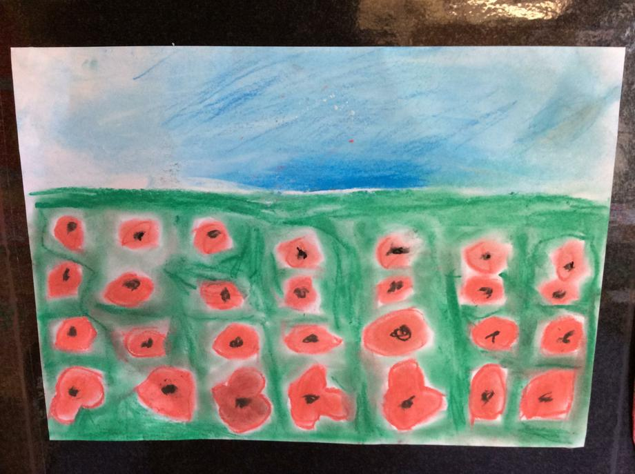 We drew the poppies that were further away smaller