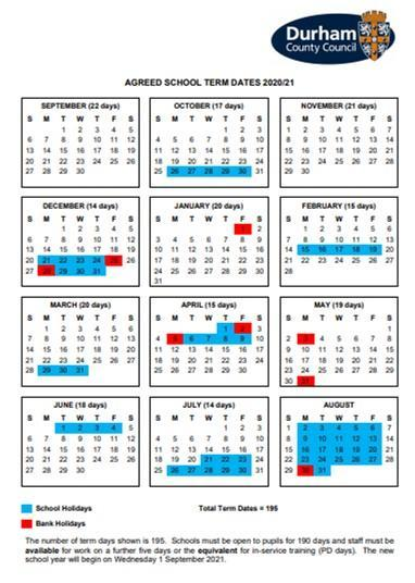 2020-2021 Term time and holidays