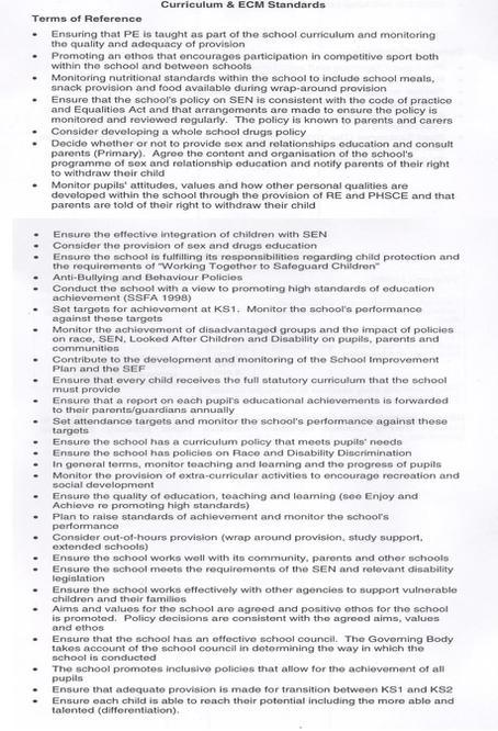 Curriculum and ECM Standards