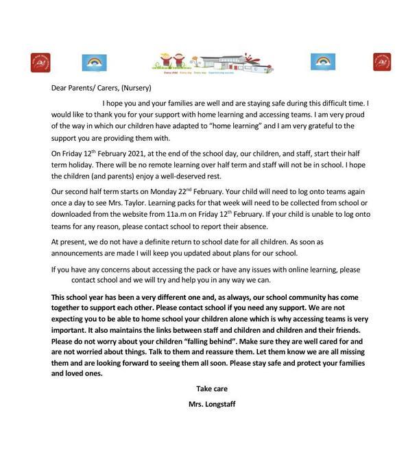 Nursery parents letter