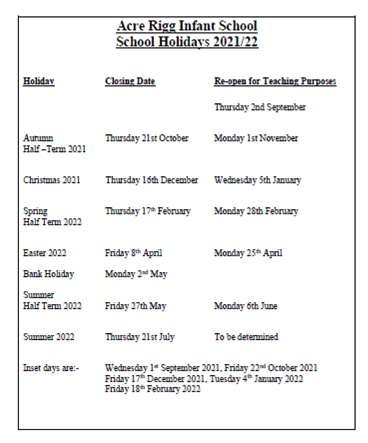 2021-2022 Term time and holidays