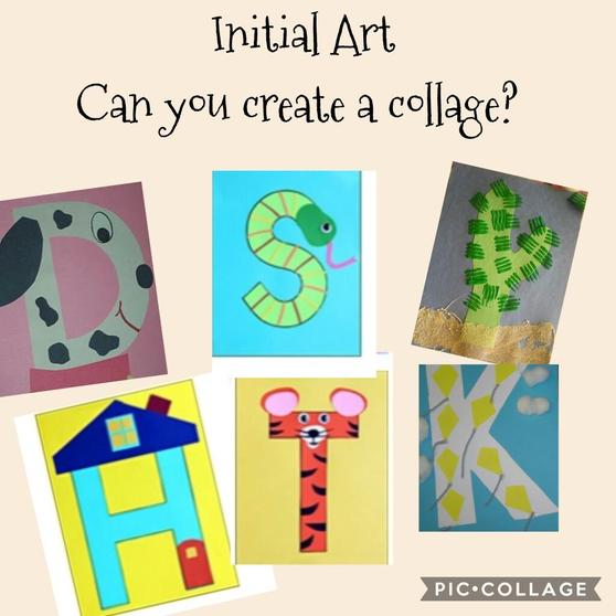Thinking our your name and the initialsound you can hear. Can you  create a collage?