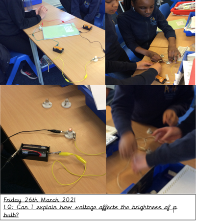 Science- We explained how voltage affects the brightness of a bulb.