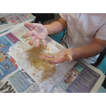 Making messy cave paintings