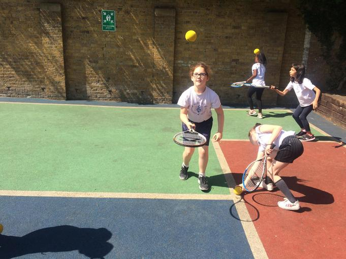 Tennis in the playground