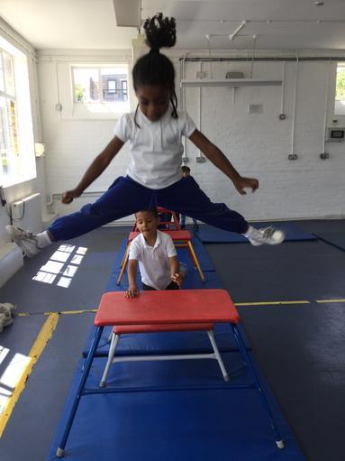 Nursery and Reception enjoying Gymnastics