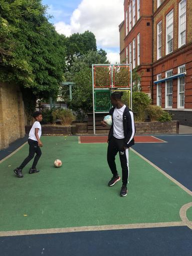 Professional footballer Jay Mingi of Charlton Athletic visited to start the week.