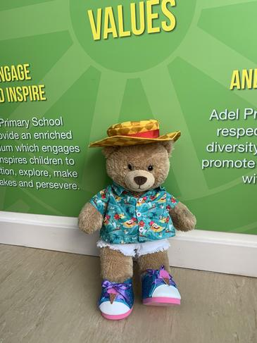 Bobby Bear has a new outfit and is ready to check our attendance in the Summer term