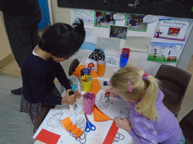 Making Chinese dragons.