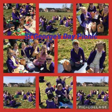 We enjoyed celebrating St George's day with a school picnic with the rest of the school