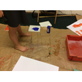 Using paint to make footprints