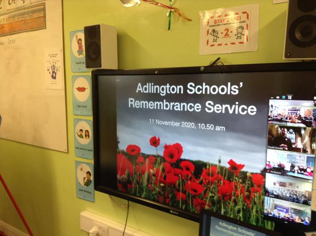 The service for all Adlington schools via zoom.